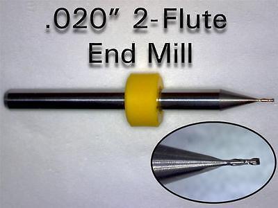 "TEN Pieces  .020"" - 0.50mm  -  Solid Carbide Micro End Mill Bits  CNC PCB Dremel"