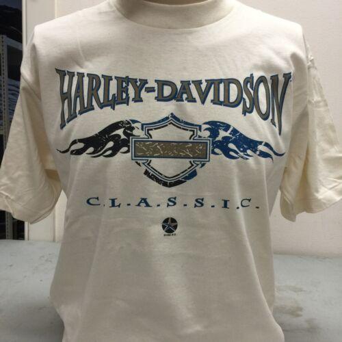 "Harley-Davidson Men/'s  large t-shirt vintage Holoubek /""classic/"" off white /'95"