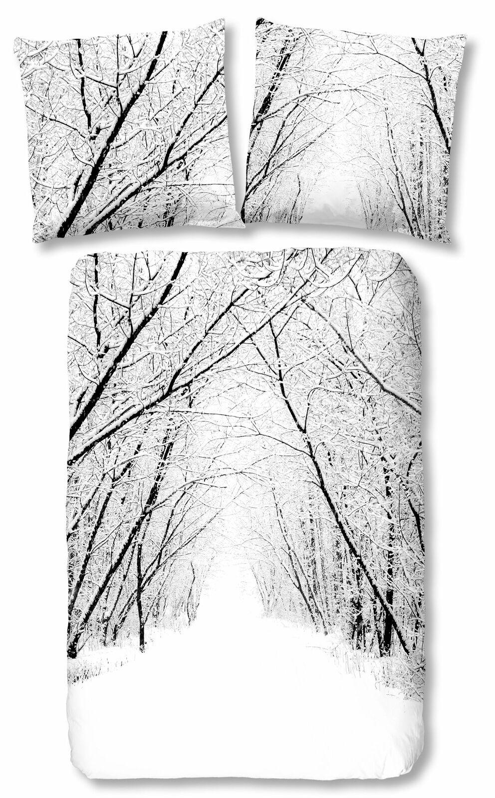 4 Teilige Winter Bettwäsche 135x200 Cm Schneelandschaft Wald