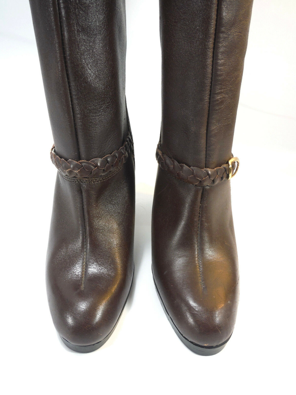 VINTAGE boot ITALIAN chestnut Braun Leder stove pipe harness casual boot VINTAGE 5.5 6d19b6