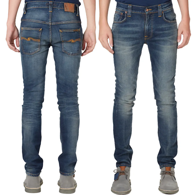 Nudie Herren Slim Fit Jeans-HoseThin Finn Black DustSchwarz Stretch