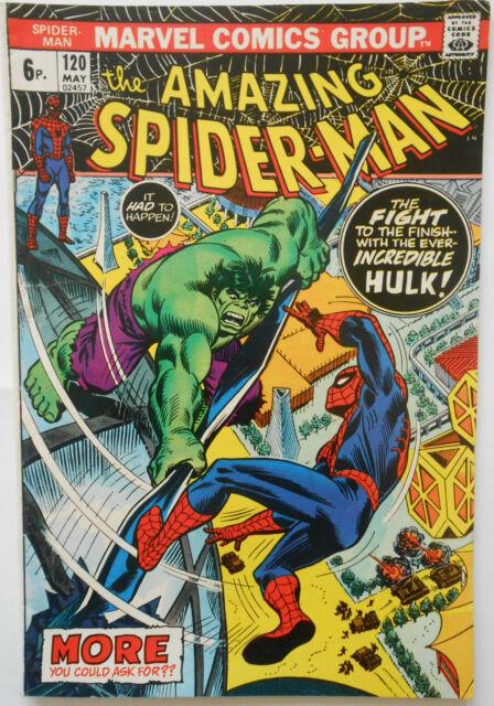 AMAZING SPIDERMAN #120 - MAY 1973 - SPIDEY VS THE HULK! - VFN+ (8.5) - RARE!