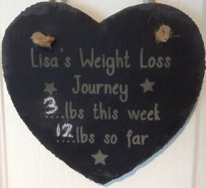 personalised slate heart diet weight loss sign plaque counter gift