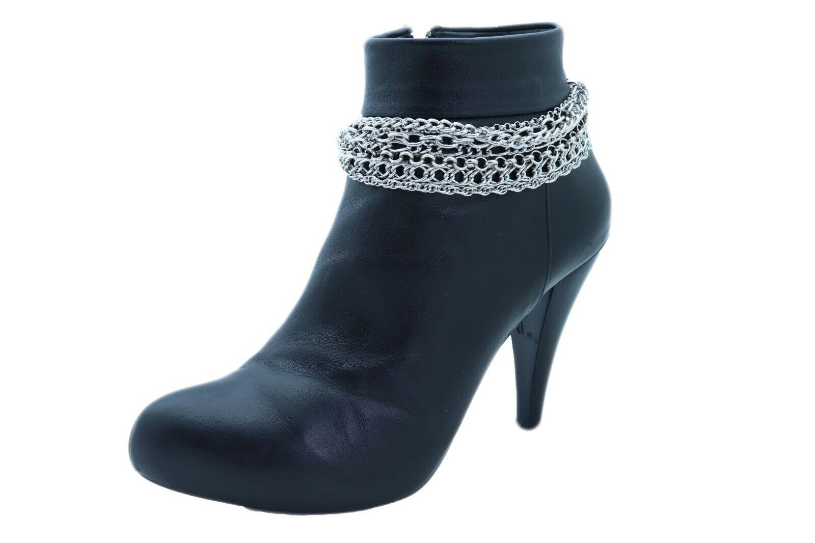 Women Silver Boot Chain Bracelet Shoe Charm Jewelry Bling Wave Street Hood Bling