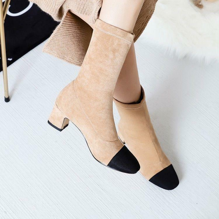 Women Vogue Faux Suede Two Tone Elasticated Mid Heel Pull On Ankle Boots shoes S