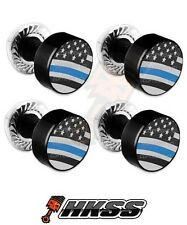 4 Black Billet Aluminum License Plate Frame Tag Bolts - THIN BLUE LINE USA SA4
