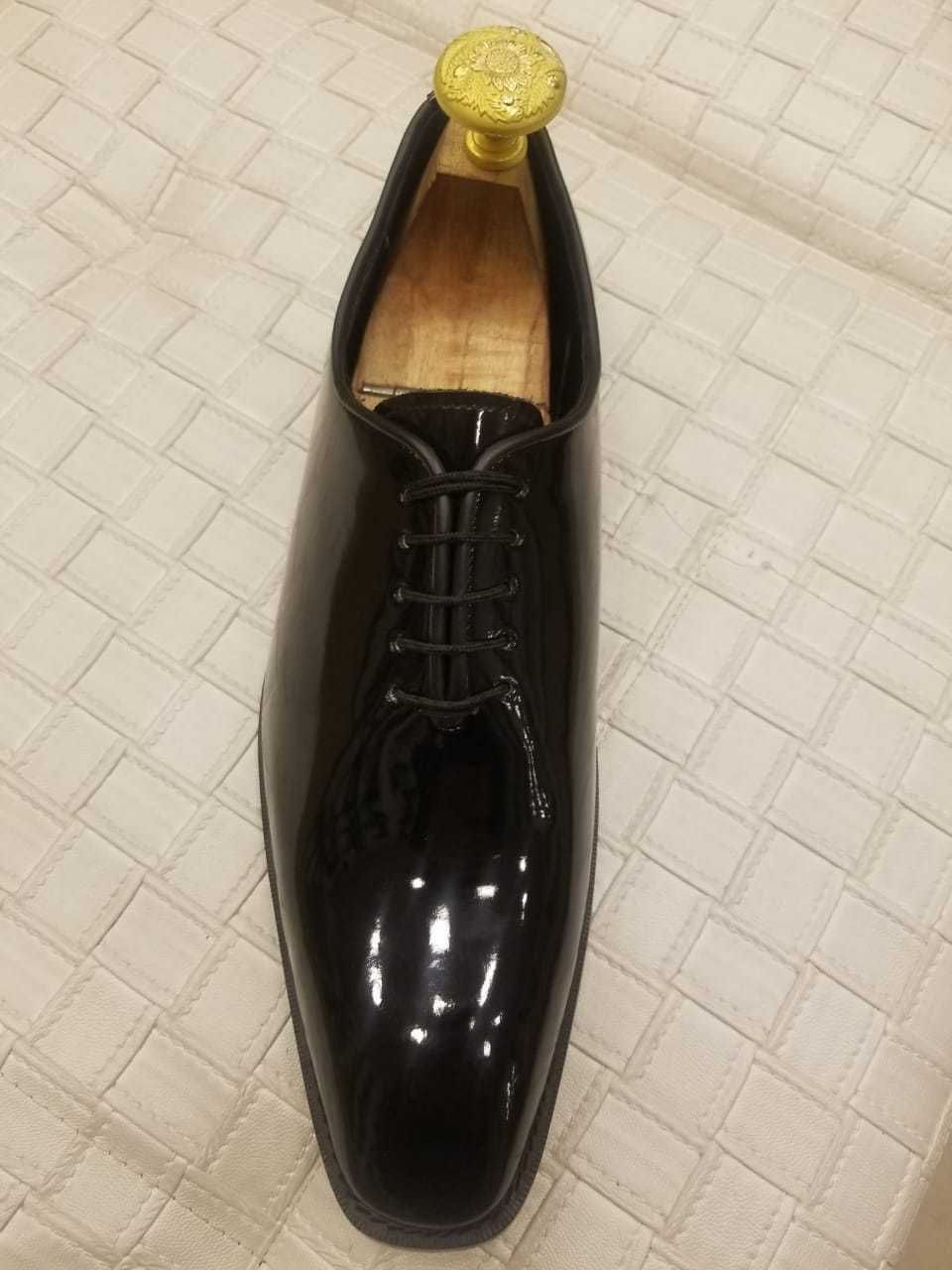 Handmade Men's Genuine Black Patent Leather Tuxedo Lace Up OnePiece Derby shoes