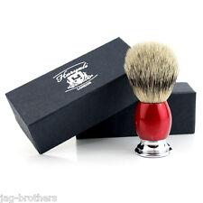 Men's 100% SILVER TIP Badger Hair Shaving Brush in RED&CHROME Handle Made in UK