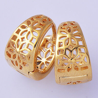 Stylish Womens Hoop Earrings Yellow Gold Filled Free Shipping A6017