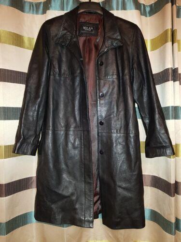 negro hasta Milan Tamao Uk Leather mujer 200 12 de Rrp abrigo la rodilla Eqwf46w5F