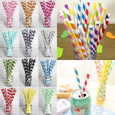 25pcs Biodegradable Paper Drinking Straw Stripe Birthday Party Wedding Colorful