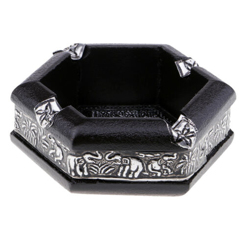 Hexagon Elephant Pattern Ashtray Smoking Holder Home Decor 4.3x4.3x1.5inch