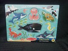 6 pcs 3384 Melissa /& Doug Sea Creatures Wooden Peg Puzzle