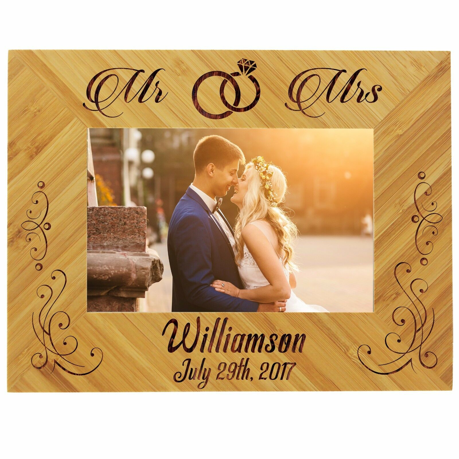 Gifts For Newly Wed Couple: Custom Engraved 4x6 Picture Wedding Frame For Newlywed