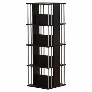 Image Is Loading Media Storage Tower CD DVD Rack Revolving Espresso
