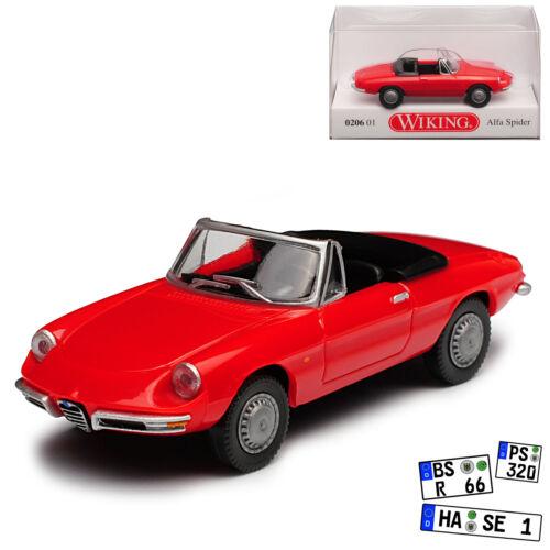 Alfa Romeo Spider Cabrio Rot H0 1//87 Wiking Modell Auto mit oder ohne individiue