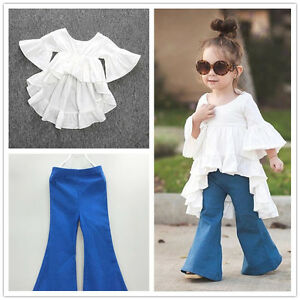 4203450061b 2pc Toddler Kids Baby Girls Outfits Cotton tops+Denim Flared pants ...