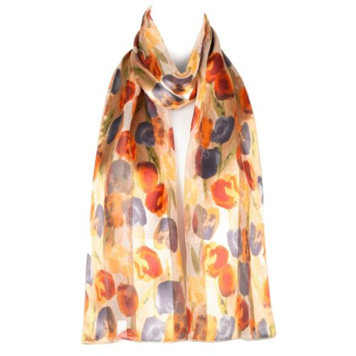 Chiffon Satin Ladies Womens Flower Tulip Design Scarf Shawl Wrap