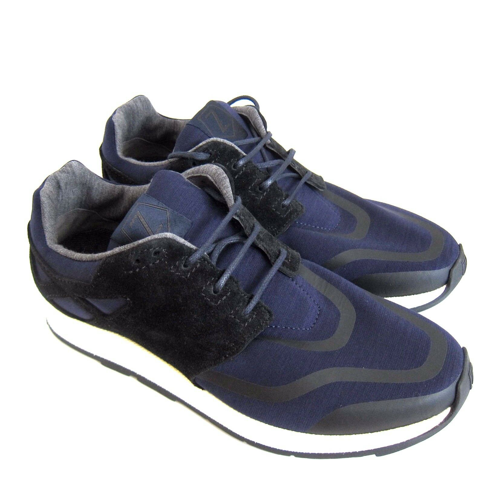 C-1482119 New Z Zegna Blue Suede/Cloth Sneakers Shoes Size US 10.5