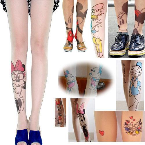 Cute Lovely Disney Cartoon Mickey Minnie Daisy Tattoo Tight Stocking Pantyhose