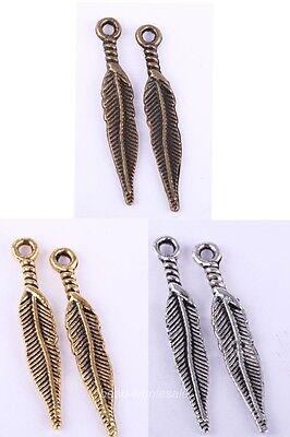 Hot Sale20pcs Silver/Gold/Bronze/Copper Alloy Feather/Leaf Shape Charms Pendants