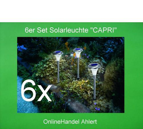 6x Set Led Solar Luce Lampada Giardino Acciaio Inox Piantana Luce per Esterni