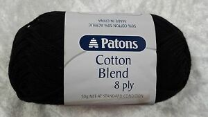 Patons-Cotton-Blend-8-Ply-2-Black-Cotton-Acrylic-50g