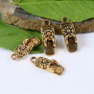 20pcs dark gold-tone slipper charms h1366