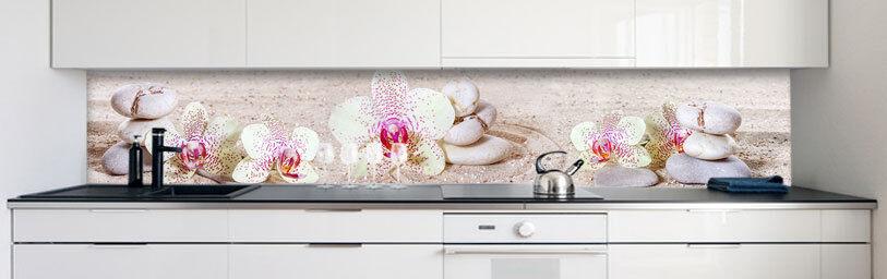 Cuisine 0,4 Mur Arrière Orchidées blanc Premium PVC dur 0,4 Cuisine mm auto-adhésif 3b9685