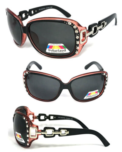 Pink RE59POL New Oversized Rhinestones Women Fashion Polarized Lens Sunglasses