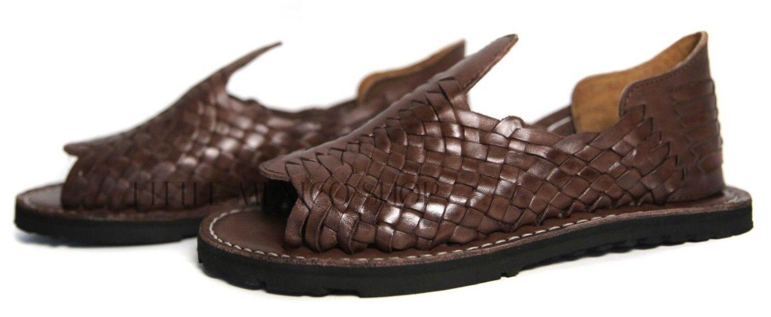 PREMIUM Uomo Mexican Mexican Mexican Sandals Marronee THICK WEAVE Huaraches Huarache Style Chancla adb262