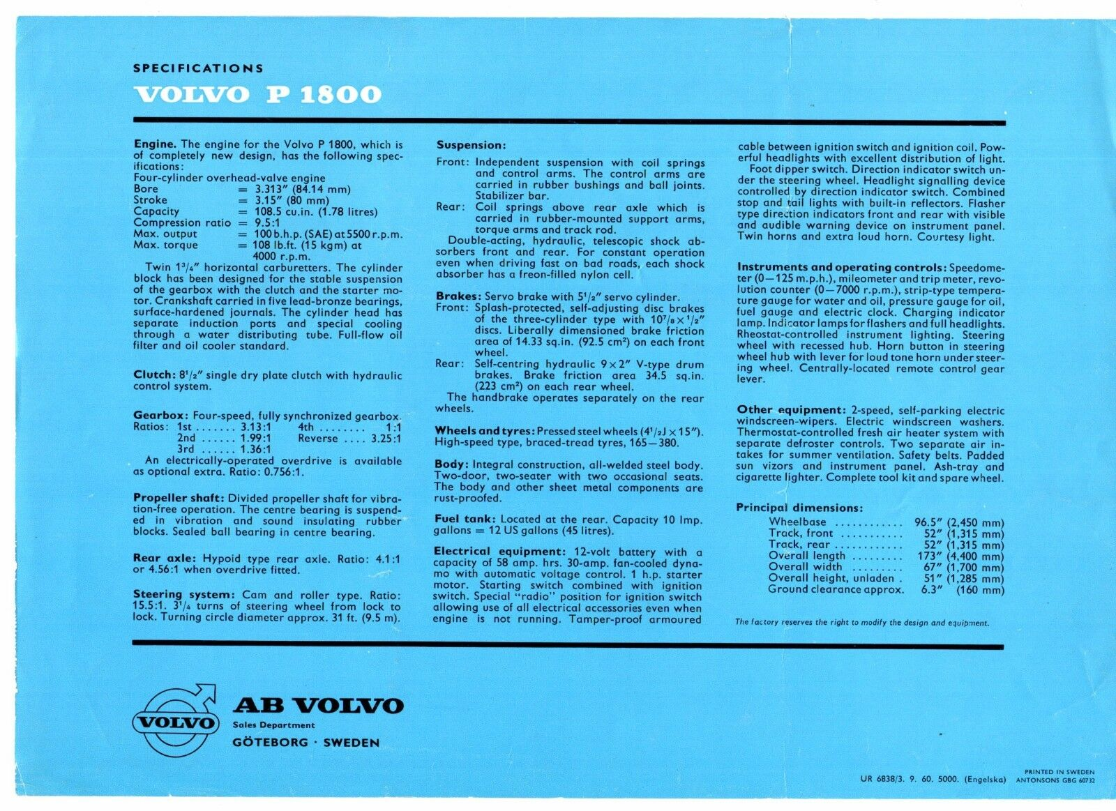 Volvo P1800 Coupe 1960 61 Uk Market Leaflet Sales Brochure Ebay Audible Flasher Warning Norton Secured Powered By Verisign