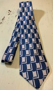 Turnbull-amp-Asser-Silk-Tie-London-England-Blue-White-Black-Geometric