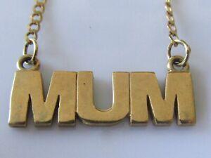 """9ct Collar De Oro-Vintage 9ct Oro Amarillo """"Cadena Collar Colgante mamá"""