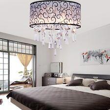 Modern Luxury Acrylic Round Drum Chandelier Ceiling 4 Light Pendant Lamp Fixture
