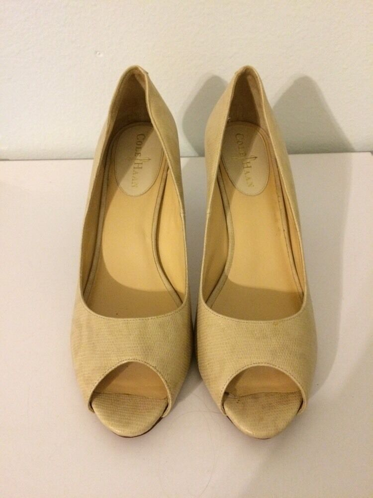 Cole Haan 9.5 9.5 9.5 B Pumps Nude Beige Snake Skin Leather Peep Open Toe Block Career 1a309f