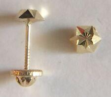 Aretes de oro real de 14k para niña, chica y mujer forma clavo tallado 4mm ahora