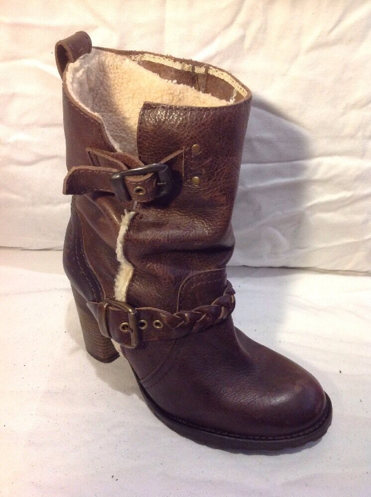 River Island Brown Ankle Leather Boots Size 5
