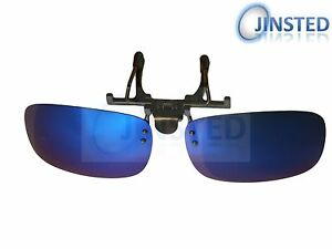 555f7f8600b Blue Green Mirrored Polarised Polarized Flip Up Clip On Sunglasses ...