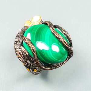 Handmade-Natural-Malachite-925-Sterling-Silver-Ring-Size-8-25-R123125