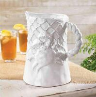 Mud Pie Crab Collection White Drink Pitcher Terracotta Fishing Net 4551005
