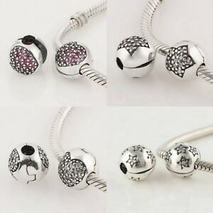 925-Solid-Sterling-Silver-CZ-Clip-Clasp-Lock-Bead-fits-European-Charm-Bracelet