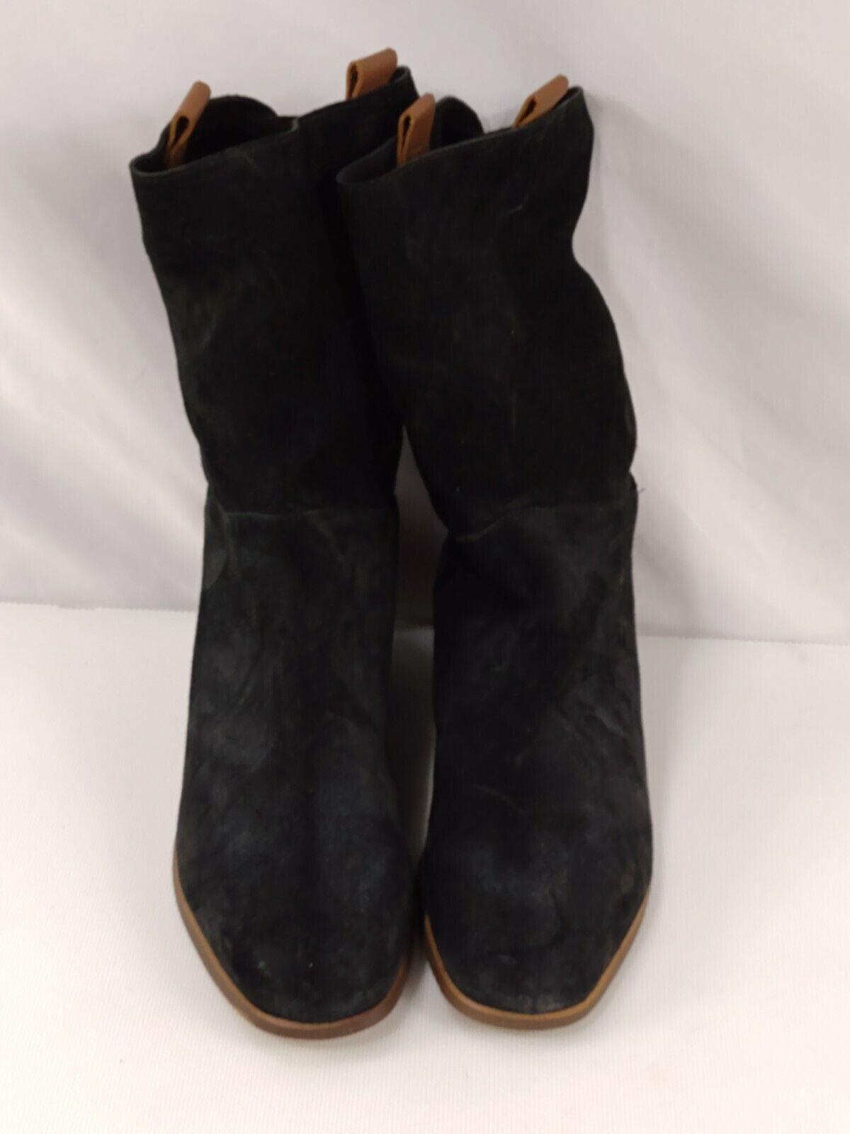 Blublonc Women's Boots 10.5 Black EU 41 Biker Leather Suede Spain 1391