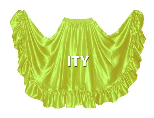 Satin Flamenco Skirt 12 Yard Ruffle Belly Dance Gypsy Tribal Costume Jupe Ats