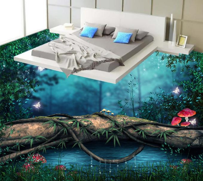 3D Mushroom Trees 54 Floor WallPaper Murals Wall Print 5D AJ WALLPAPER UK Lemon