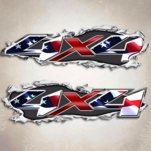 American flag silverado truck decal ripped metal usa sticker for chevy