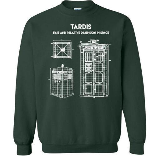 617 Tardis Blue Print Crew Sweatshirt tv show doctor nerd geek vintage retro new