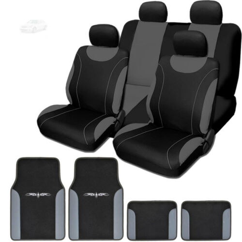 For Mercedes New Black and Grey Flat Cloth Car Truck Seat Covers With Mats Set
