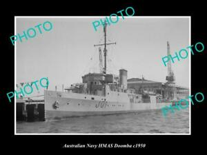 OLD-POSTCARD-SIZE-AUSTRALIAN-NAVY-PHOTO-OF-THE-HMAS-DOOMBA-SHIP-c1950