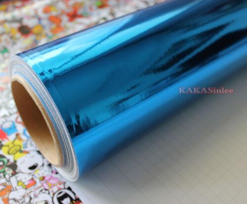 AB Stretchable DIY Blue Car Part Glossy Mirror Chrome Vinyl Wrap Sticker Sheet